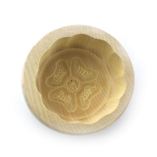 Butterform rund 30 g, aus Ahornholz, 7 cm, Motiv Glücksklee
